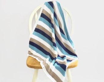 Cotton baby blanket | striped blanket | baby boy blanket | knitted baby blanket | stroller blanket | receiving blanket