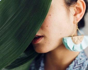 SALE / Green silk fan earrings for women in leather and silk / Statement earrings for women