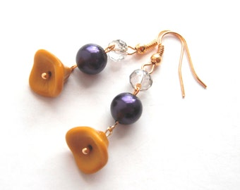 Orange Lampwork Glass, Purple Glass Pearl and Smoky Glass Crystal Earrings Hung from Gold Tone Hooks and Wire - Unique Dainty Gift for Her
