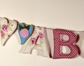 NAME GARLAND Personalised Banner Alphabet Heart Bunting Pink & Cream Vintage Floral Fabric Nursery Wall Letters