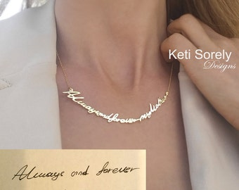 Handwritten Message Necklace, Choker Necklace From Sterling Silver, Message Necklace, Tatoo Necklace Yellow Gold, Rose Gold, White Gold