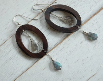 labradorite and tiger ebony earrings   - gift for her - girlfriend gift - sexy long dangly earrings- every day earrings