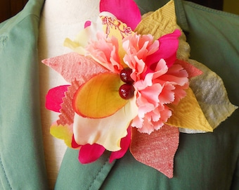 Pretty in Pink Fabric Flower Pin/Clip