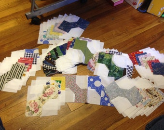 86 Bow Tie Quilt Squares--Ready to put in your Quilt---------nm