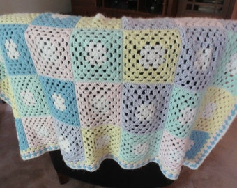 "Vintage Pastel Granny Square Crib Blanket/ Throw/Afghan/Lap Blanket, 62"" by 40"", Handmade,Light Pilling"
