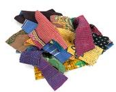 kantha quilt scraps, about 450 grams, smallish pieces, patchwork supplies, sewing supplies