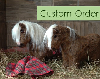 Shetland pony plush fur fabric model toy, custom made to order. For children or collectors.