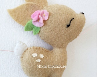 Easter fawn and flowers garland - bunting - decor - nursery decor