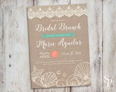 Beach theme Rustic Lace Wedding, Bridal Shower Bachelorette Invitation, Turquoise Coral Beach Ocean Seashells
