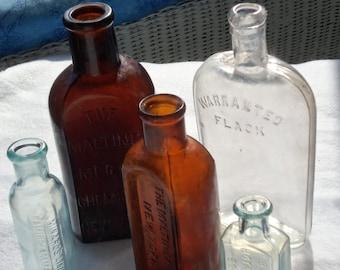 Vintage Medicine Bottles, New York Bottles, Boston Mass,Bottles, Old Flask,Liniment Bottle,Brown Bottles, Tinted Light Blue Bottles