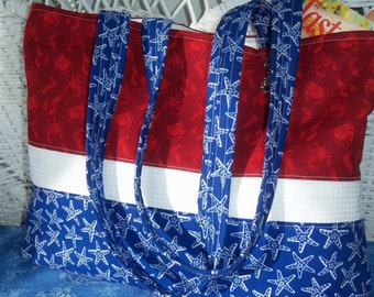 The Red ,White ,And Blue  Tote Bag.Teacher Gifts ,Summer Tote Bag,Weekend Bag, Beach Bag, Birthday Gift for Summer,Red White and Blue Bag