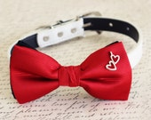 Red Dog Bow tie, Bow attached to dog collar, heart charm, Dog birthday gift, pet wedding accessory, Dog collar, Valentines gift, dog lovers