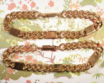"2 Rose Goldplated 8"" Italian Link Bracelets"