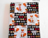 Minky Baby Boy Blanket Patchwork Fox and the Houndstooth--Ready to Ship