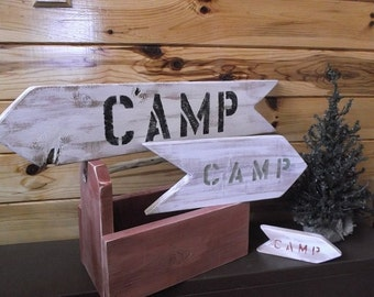 Rustic Camp Arrow Sign- Wooden