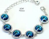 Blue Bracelet Bridal Bracelet Wedding Bracelet Swarovski Crystal Bermuda Blue Bracelet Peacock Bracelet Statement Designer Jewelry BB34BR