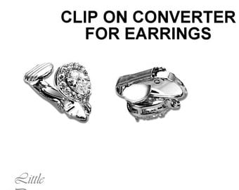 CLIP ON Converter UPGRADE Clip on Earrings Clip on Connector Pave Crystals Cubic Zirconia Clip on Jewelry Rhodium Plated Hypoallergenic