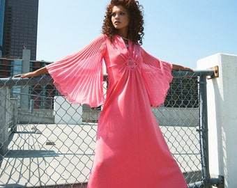 vintage pink dress with shear bell sleeves | small | the disco princess maxi