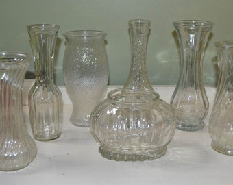 Seven Large Vintage Clear Glass Vases & Planter Wedding Decor