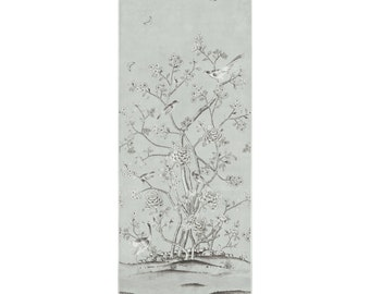 SCHUMACHER CHINOISERIE Exotic Birds Cherry Blossoms Drapery Panel Fabric 1 Gray
