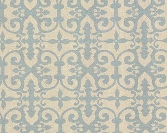 SCHUMACHER ENGLISH COUNTRY Chic Scrollworks Hand Blocked Linen Fabric 10 Yards Blue