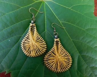 Steampunk Gold Earrings - Gold Zipper Earrings - Peruvian Thread Earrings - Dangle Earrings