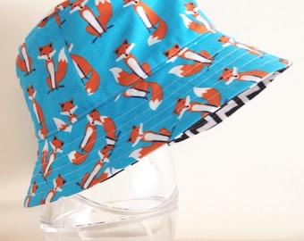 Boys summer hat in funky fox fabric