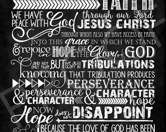 Scripture Art - Romans 5:1-5 ~ Chalkboard Style