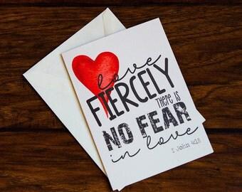 Scripture Art ~ 5x7 folded card w/ envelope ~ I John 4:18 Valentine's Day Card