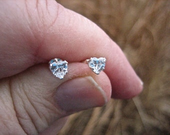 Vintage 925 Sterling Silver CZ 4 mm Heart Studs