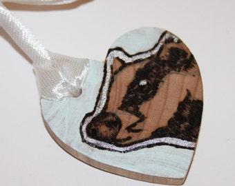 Pyrography Wood Burning -  English Badger Love Token - Pastel Green - Wooden Heart Gift