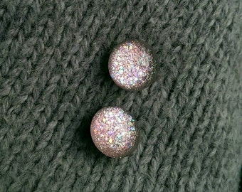 Glitter earrings – Pink earrings – Nail polish Earrings – Gift for her – Valentine gift – Stud Earrings - Surgical steel earrings