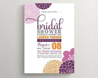 Printable Bridal Shower Invitation - Modern flower design featuring Orange and Plum (PP74)