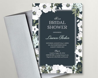 Printable Bridal Shower Invitation \ Wedding Shower \ Floral Invite \ Navy Invitation  (BR171)