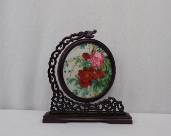 Vintage Chinese Suzhou Embroidery Silk Double Sided Roses Glass with Ornate Wooden Stand Frame - Mid Century Handmade Chinoiserie Decor