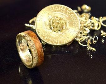 Unique silver half dollar ring with whisky barrel Oak wood and deer antler