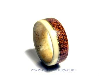 Deer antler wedding band ring with Mahogany wood