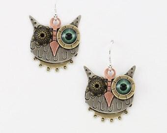 Steampunk Earrings, Steampunk Owl Earrings, Steampunk Jewelry, Owl Earrings, Mixed Metal Owl Earrings, Owl Jewelry, RP0650