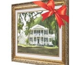 Christmas Gift - Custom Home House Portrait Painting Fine Art from Photo - Oil on Canvas