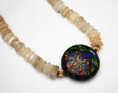 Boho Necklace with Cloisonne Enamel on a polish  Chalcedony Agate nugget bead