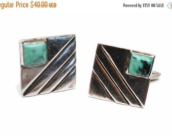 Sterling Cuff link Turquoise square  cufflink