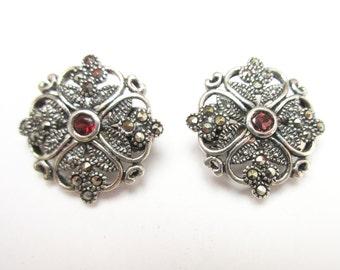Sterling  Silver Marcasite Ruby Earrings clip on earrings
