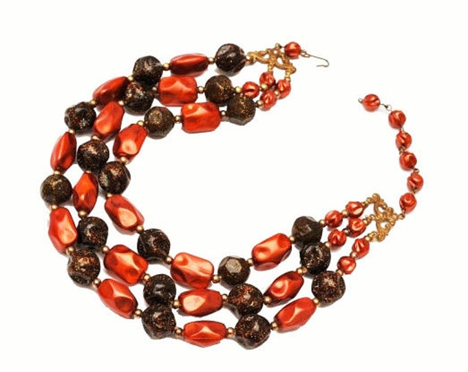 Bead necklace - Multi strand - Cranberry Red Orange - glitter brown lucite beads