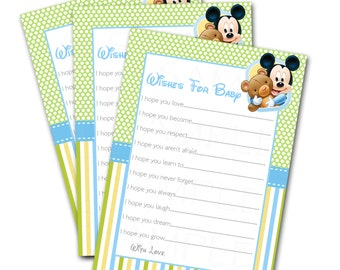 Wishes for Baby -Disney Baby Mickey Mouse Inspired Baby Shower Printable Card