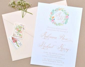 Water Color Wedding Invitation - Floral Wedding Invitations, Rustic Wedding Invitations, Wedding Invitations