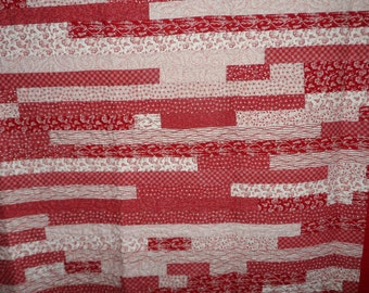 Quilt - Red Road - Jelly Roll Race  Quilt - Quilted Queen