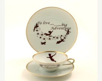 Summer Sale 20% Off Peter Pan Tea Altered Cup Plate Live Adventure Vintage Porcelain J. M. Barrie Gold Rim Brown White