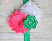 Sweet Paddy's Shamrock- Headband OR Clip- Two Options- Pink- Green