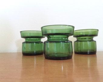 Trio of Vintage Green Dansk Votive Holders / Bud Vases