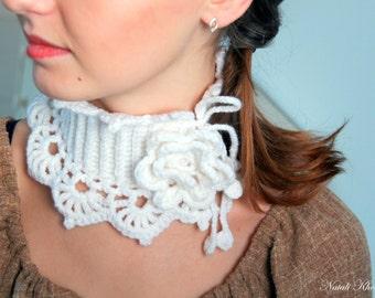 Crochet scarf or neckwarmer. Crocheted scarf or collar. FREE SHIP!